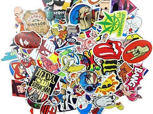 Evinis – Pack of 150 Random Cool Music Film Vinyl Skateboard Guitar Travel Case Sticker Lot Pack Decals