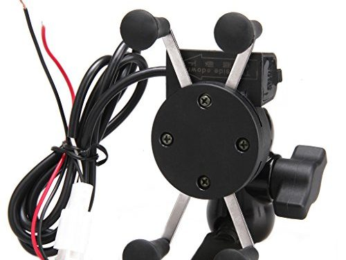 Excelvan Universal Motorcycle Phone Mount Holder USB Charger for iPhone, Samsung, GPS Device
