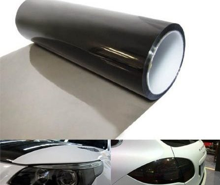 12 by 48 Inches Self Adhesive Headlight, Tail Lights, Fog Lights Tint Vinyl Film 12 X 48, Light Black
