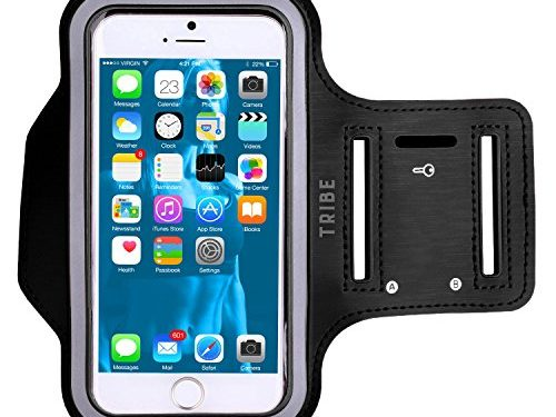 Tribe AB66 Water Resistant Sports Armband with Key Holder for iPhone 6 Plus, 6S Plus 5.5-Inch, Galaxy S6/S5, Note 4 Bundle with Screen Protector – Black