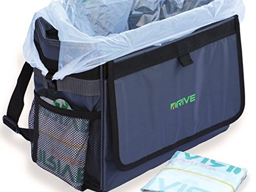 The DRIVE Bin XL – Best Large Car Trash Can for Litter, Takes Grocery Bag Size Disposable Liners, 10-Piece Starter Pack Included! Recycle Auto Garbage Kit is Waterproof, Makes a Great Cooler & Gift