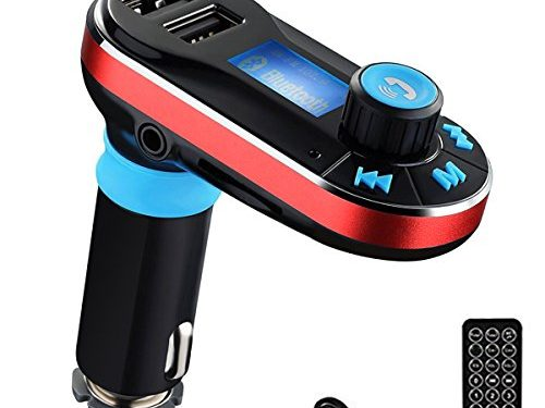 Perbeat BT66 Wireless Bluetooth FM Transmitter Hands free Car Kit Radio Adapter MP3 Player Dual USB Car Charger support Micro SD Card USB Flash Disk for Smart phone, iPhone, iPad,etc BT66 Red