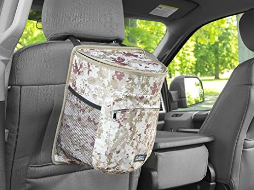 Clean Ridez Car Garbage Can w/ Ez Flip Lid & Leakproof Removable Liner – Auto Trash Bag & Car Cooler with Bottle Holders and Extra Storage Pocket Desert Digital Camouflage