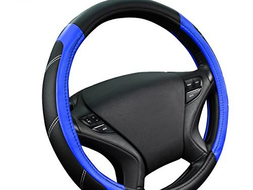 NEW ARRIVAL- CAR PASS Line Rider Leather Universal Steering Wheel Cover fits for Truck,Suv,Cars Black and Blue