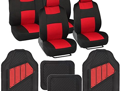Two-Tone PolyCloth Car Seat Covers w/ Motor Trend Dual-Accent Heavy Duty Rubber Floor Mats – Black/Red