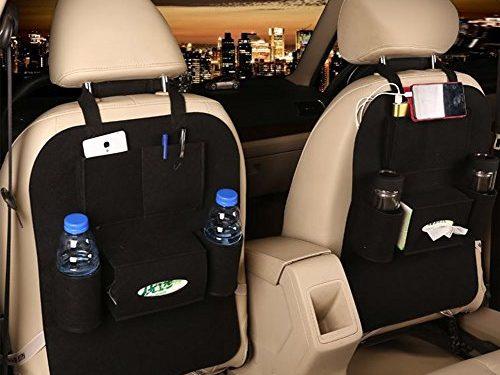 M'Baby 1pc Car Backseat Organizer Woolen Felt Seat Pocket Protector Storage for Bottle, Tissue Box, Toys Black
