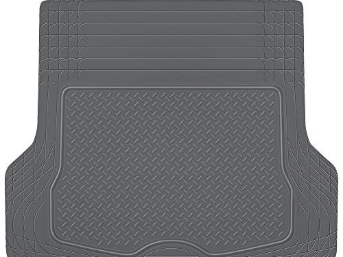 BDK Heavy Duty Rubber Cargo Floor Mat – All Weather Trunk Protection, Trimmable to Fit & Durable HD Rubber Gray