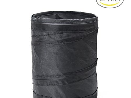 Binboll Car Trash Can, Collapsible Leak proof Trash Can, Car Portable Garbage Bag Black2 Pack