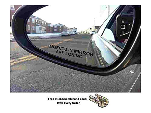 Pair Objects in Mirror are Losing Decal BLACK Etched Glass Funny Sticker package come With stickerbomb hand decal stickerciti Brand