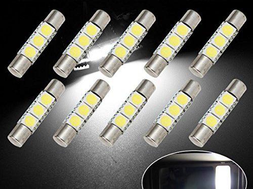 Partsam 29mm Festoon 5050 SMD LED Lights Car Interior Vanity Mirror Sun Visor Lamp Bulbs , White, Pack of 10