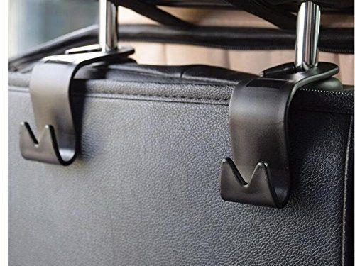 Car Storage Hooks Back Seat Headrest Hooks – Coat Purse Handbag Grocery Bag Holder Set of 4 Mayco Bell Black