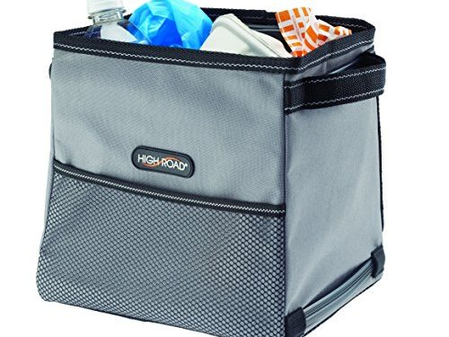 High Road StableMate Leakproof Covered Car Trash Can Medium, Gray