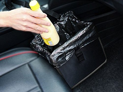 Garbage Bag for Litter Classic Black Premium Quality Black Universal Traveling Portable Car Trash Can – Auto Car Trash Can