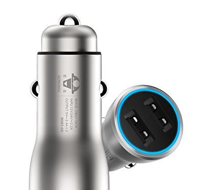 Copper Dual USB Car Charger from G.N., 3.6A/18W, Smart, Fast and Safe Charger for iPhone iPad Samsung Android Phones, 2017 iF Design Award Winner