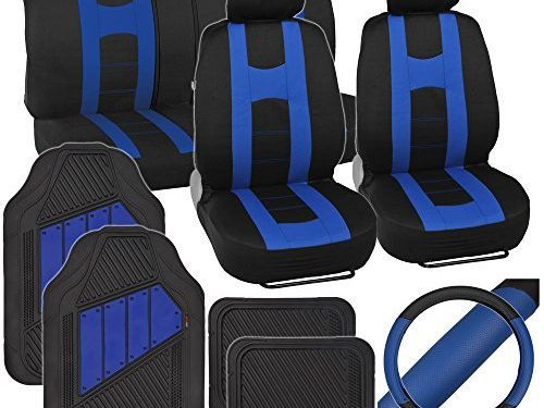 Two Tone Black & Blue – PolyCloth Sport Seat Covers Rubber Floor Mats & Steering Wheel Cover for Auto Car SUV Truck