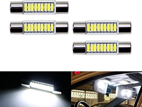 iJDMTOY 4pcs Extremely Bright 9-SMD 29mm 6614 LED Replacement Bulbs For Car SUV Truck Sunvisor Flips Vanity Mirror Lights, Xenon White