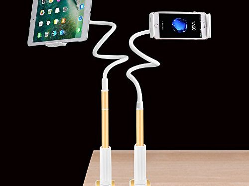 Stretchable Gooseneck Phone Holder Upgraded Detachable Flexible Lazy Bracket iPad Stand 360 Degree Rotating Long Arm Clamp Mount for 4-10.6 Inches Cell Phone iPhone and Tablet Gold