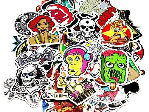 Nuoxinus Car Stickers 100pcs, Laptop Stickers Skateboard Luggage Bike Motorcycle Bumper Stickers, Snowboarding Guitar Helmet Phone Graffiti Decals Vinyls, Fashion Cool Unique Mix Lot Random Pack