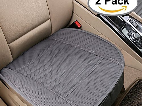 Breathable 2pc Car Interior Seat Covers Cushion Pad Mat for Auto Supplies Office Chair with PU Leather Bamboo CharcoalGrey