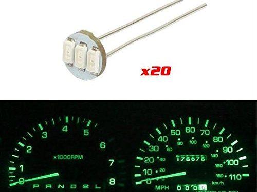 Partsam 20Pcs 4.7mm-12v Car Green Mini Bulbs Lamps Indicator Cluster Speedometer Backlight Lighting For GM GMC