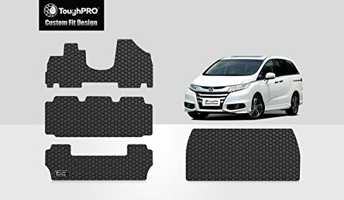 Full Set + Cargo Mat – 2011-2017 – Heavy Duty -Black Rubber – ToughPRO Honda Odyssey Floor Mats – All Weather