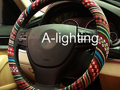 B – A-Lighting Ethnic Style Coarse Flax Cloth Automotive Steering Wheel Cover Anti Slip and Sweat Absorption Auto Car Wrap Cover
