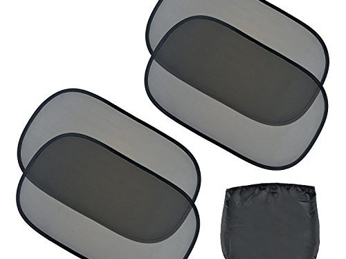 4 Pack  – EveShine Car Sun Shade for Side and Rear Window – Extra Large 20″x12″ Static Cling Sunshade