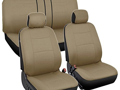 Split Bench – PolyCloth Car Seat Covers Solid Beige – 11 Piece Front & Rear Seat Covers