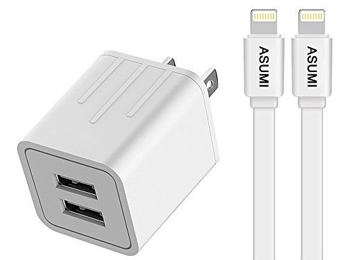 Charger, ASUMI 4.2A 21W Fast Charging Portable Home Travel Wall Charger with 6FT 2-PACK Long Durable 8 Pin Lightning Cable Charging Cord for IOS 10 iPhone 7/6S Plus, 5S/SE, iPad Air/mini