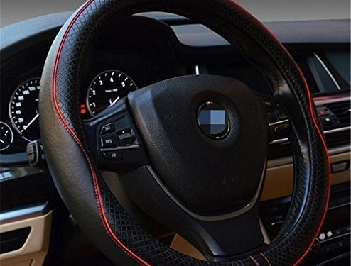 Car Leather Steering Wheel Cover Universal Breathable Anti-slip Wheel Sleeve Protector Black+Red