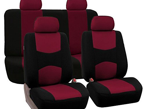FH Group Universal Fit Full Set Flat Cloth Fabric Car Seat Cover, Burgundy/Black FH-FB050114, Fit Most Car, Truck, Suv, or Van