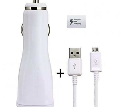 Samsung Adaptive Fast USB Car Charger For S7 Edge, S7, S6, Note 5, Power Adapter with 5 feet Micro USB Cable and Quick Charge Technology White-Bulk Packing