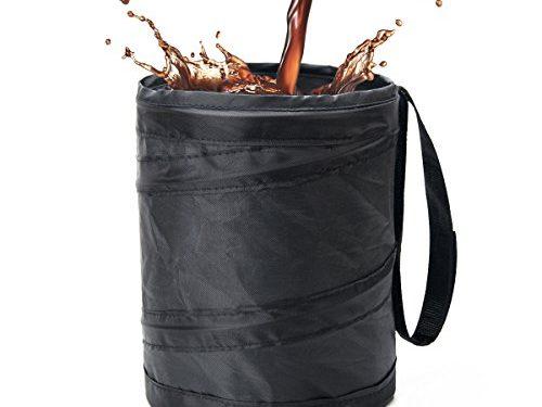 Binboll Car Trash Can, Collapsible Leak proof Trash Can, Car Portable Garbage Bag Black