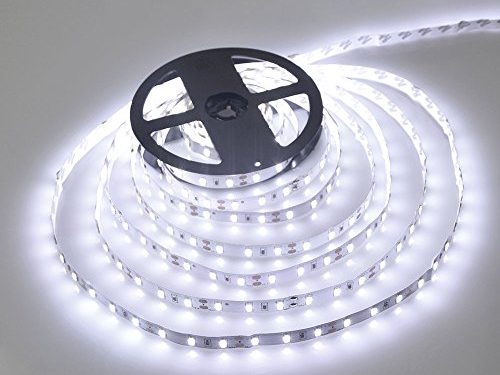 WenTop Waterproof Led Strip Lights SMD 3528 16.4 Ft 5M 300leds 60leds/m White Flexible Tape Lighting Tape Lights in DC Jack for Boats, Bathroom, Mirror, Ceiling and Outdoor – No Power Supply