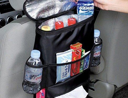 AICase Car Seat Back Organizer, Waterproof Car Trash Bin Leakproof Auto Litter Bag with Side Pocket, Multi-Pocket Travel Storage Bag Heat-Preservation Standard, Black