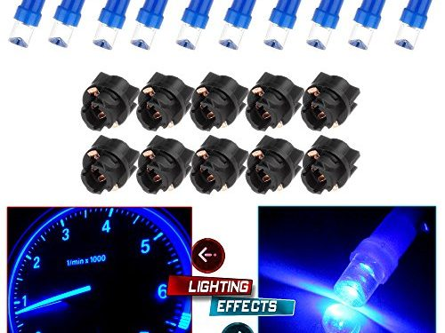 CCIYU 10 Pack T5 Instrument Cluster Panel Gauge Dash LED Bulb light 17 57 37 73 74 Blue +10x Twist Sockets 17 37 70 Instrument Panel Cluster Plug Lamp Dash Light Bulb T5