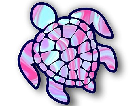 Sea Turtle Decal/sticker light blue and pink