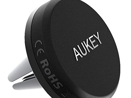 AUKEY Car Mount Air Vent Magnetic Phone Holder for iPhone 7, 6S, Plus, Samsung and Other Android, Windows Smartphones Grey