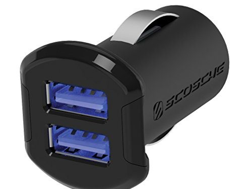 SCOSCHE USBC242M 12 Watts per port 24W/4.8A total output USB Car Charger- The FASTEST CHARGE RATE for Apple and Android Devices-Retail Packaging-Black