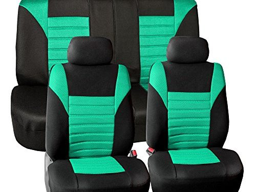 FH GROUP FH-FB068115 Premium 3D Air Mesh Seat Covers Full Set Airbag & Split Ready, Mint / Black Color- Fit Most Car, Truck, Suv, or Van