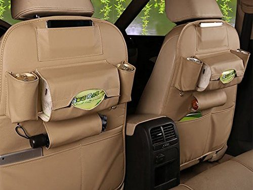 2 PACK PU Leather Car Backseat Organizer For iPad and Tablet  Beige