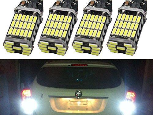 4-Pack 921 912 T10 T15 White 1000 lumens 12V Extremely Bright Non-Polarity Canbus Error Free AK-4014 45pcs Chipsets LED Bulbs For Backup Reverse Parking Lights Xenon White 6000K