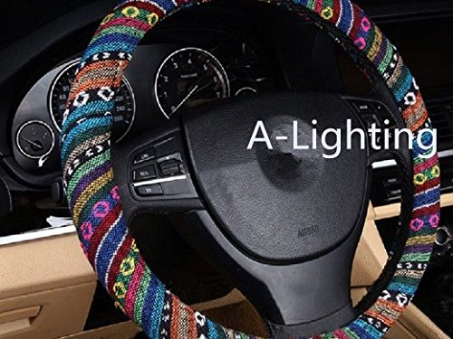 A – A-Lighting Ethnic Style Coarse Flax Cloth Automotive Steering Wheel Cover Anti Slip and Sweat Absorption Auto Car Wrap Cover