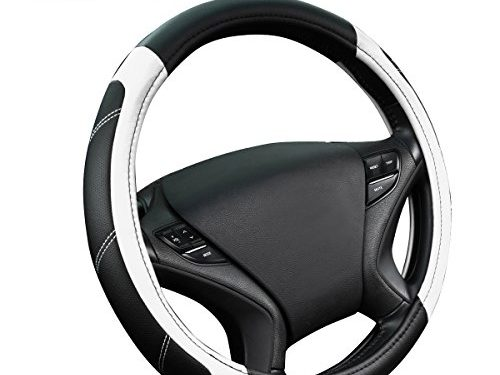 NEW ARRIVAL- CAR PASS Line Rider Leather Universal Steering Wheel Cover fits for Truck,Suv,CarsBlack and White