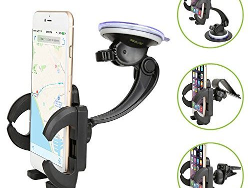 Black For Apple iPhone 7 / 7 Plus / Samsung Galaxy S8 and More – Car Mount Holder, iKross 4-in-1 Universal Smartphone Windshield / Dashboard / Sun Visor / Air Vent Car Mount Cradle Holder Kit