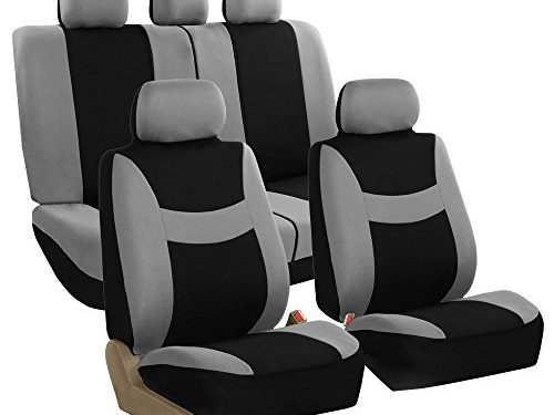 FH GROUP FH-FB030115-SEAT Light & Breezy Gray/Black Cloth Seat Cover Set Airbag & Split Ready- Fit Most Car, Truck, Suv, or Van