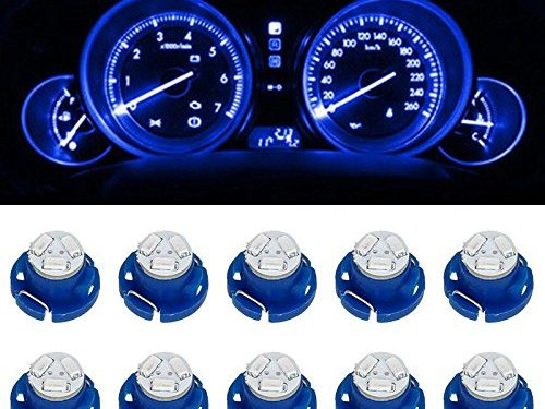 Partsam T5 T4.7 Neo Wedge Instrument Dashboard LED Light Bulbs 12mm 12V 3-SMD A/C Climate Heater Controls Instrument Panel Gauge Cluster Dashboard LED Light Bulbs Set – Blue Pack of 10