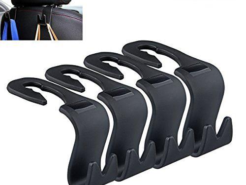 Set of 4 Car Headrest Hanger, Akwox Universal Car Hook 4 Car SUV Back Seat Headrest Hanger Storage Hooks