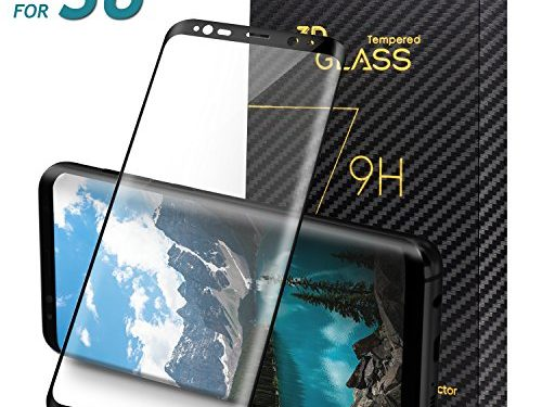SV-3C Samsung Galaxy S8 Screen Protector, Full Coverage, 3D Curved Tempered Glass Screen Protector for Samsung Galaxy S8 -Transparent-Black