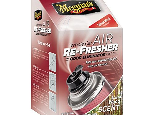 Meguiar's G19702 Whole Car Air Refresher Odor Eliminator Spiced Wood Scent, 2.5 oz.